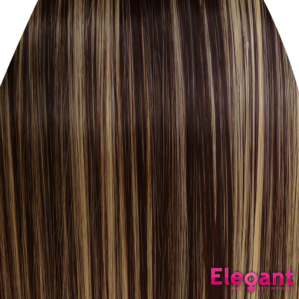 Clip In Hair Extensions Straight Dark Brown Blonde Mix 4