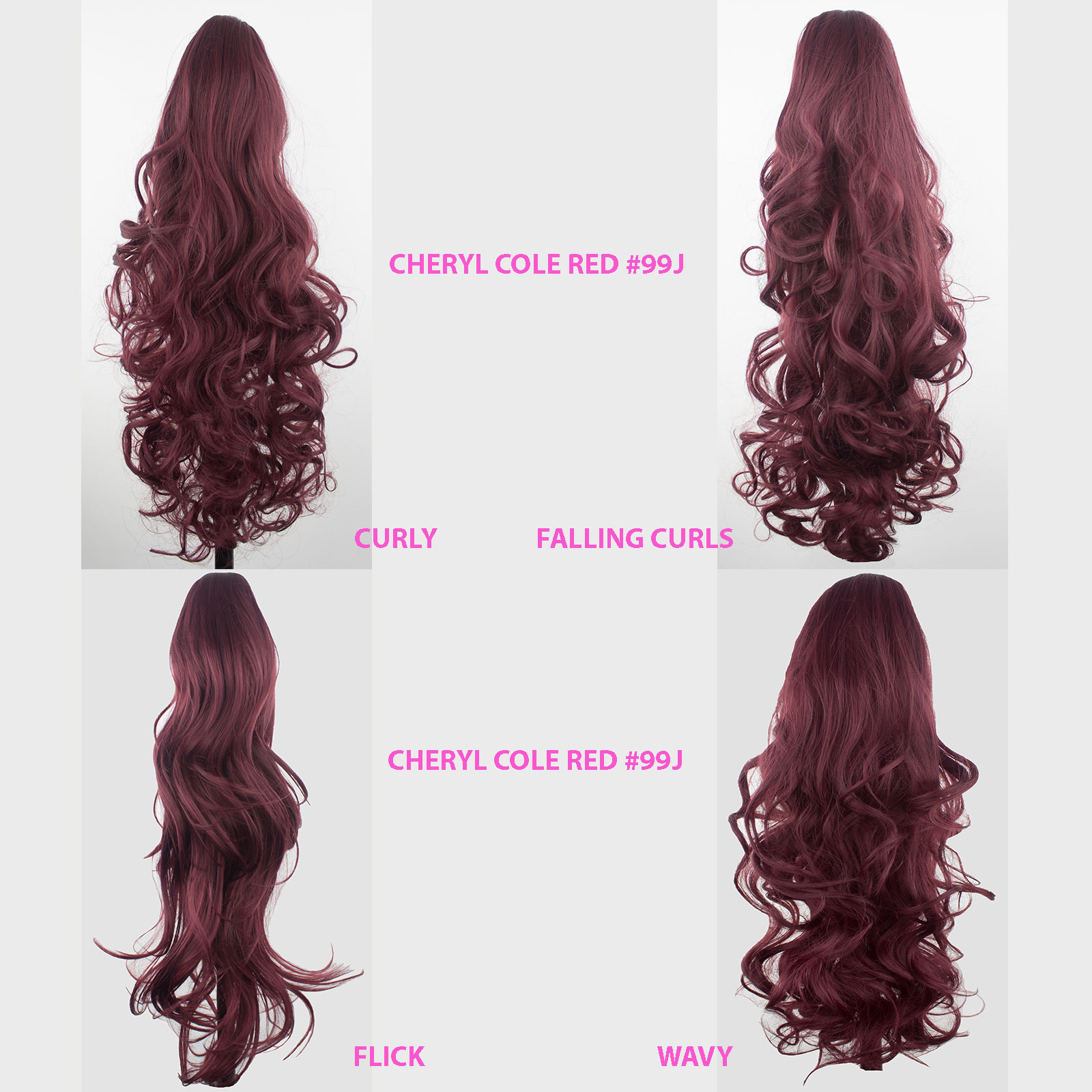 Ponytail clip in hair extensions cheryl cole red 99j reversible 4 ponytail clip in hair extensions cheryl cole red pmusecretfo Choice Image