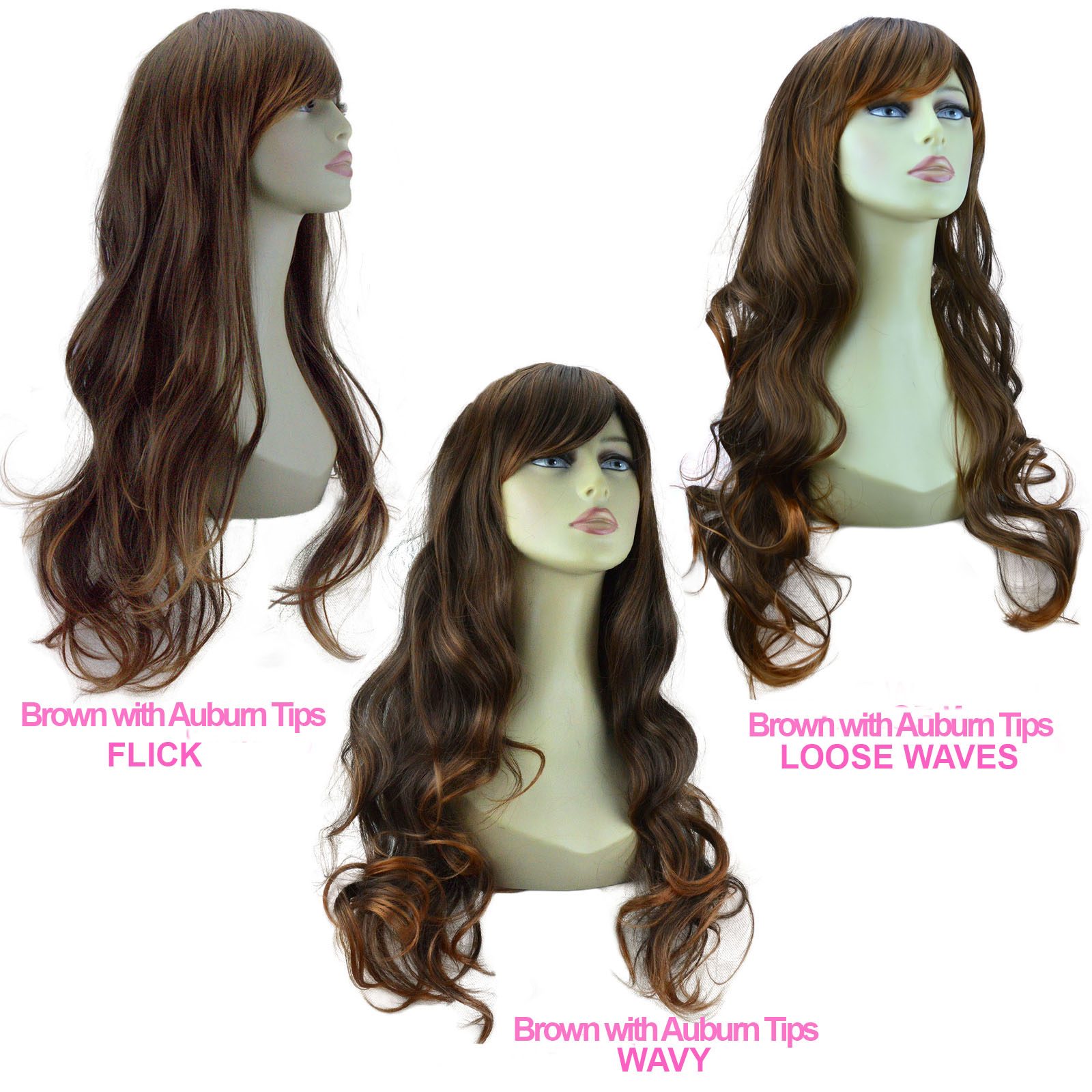 "20"" Ladies Beautiful Full WIG Long Hair Piece FLICK Brown ..."