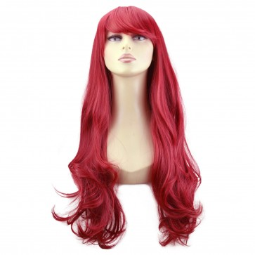 "22"" Ladies Full WIG Long Hair Piece WAVY Pillar Red"