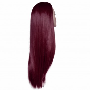 "22"" Ladies 3/4 WIG Half Fall STRAIGHT Burgundy"