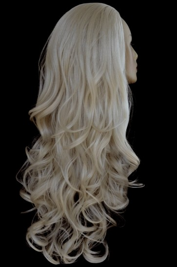 "22"" Ladies 3/4 WIG Half Fall WAVY Champagne Blonde #22"