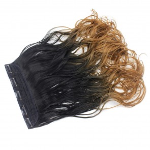 """22"""" Clip In ONE PIECE WAVY CURLY Black/Caramel Ombre 1pc 5 Clips 120g"""