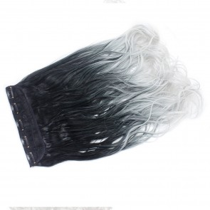 """22"""" Clip In ONE PIECE WAVY CURLY Black/Silver Grey Ombre 1pc 5 Clips 120g"""