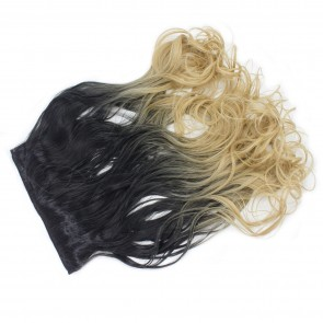 """22"""" Clip In ONE PIECE WAVY CURLY Black/Golden Blonde Ombre 1pc 5 Clips 120g"""