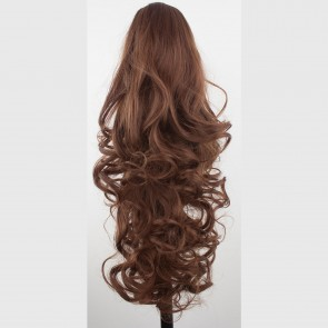 "22"" PONYTAIL FALLING CURLS Chestnut Brown REVERSIBLE Claw Clip"