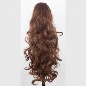 "22"" PONYTAIL WAVY Chestnut Brown REVERSIBLE Claw Clip"
