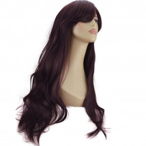 "20"" Ladies Full WIG Long Hair Piece FLICK Style Dark Plum #99J/1"