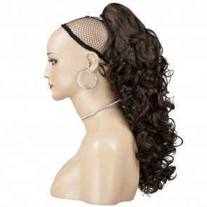 "17"" PONYTAIL CURLY Chocolate Brown #8 REVERSIBLE Claw Clip"
