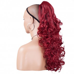 """22"""" PONYTAIL CURLY Pillar Red REVERSIBLE Claw Clip"""
