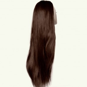 "22"" Ladies 3/4 WIG Half Fall STRAIGHT Chocolate Brown #8"