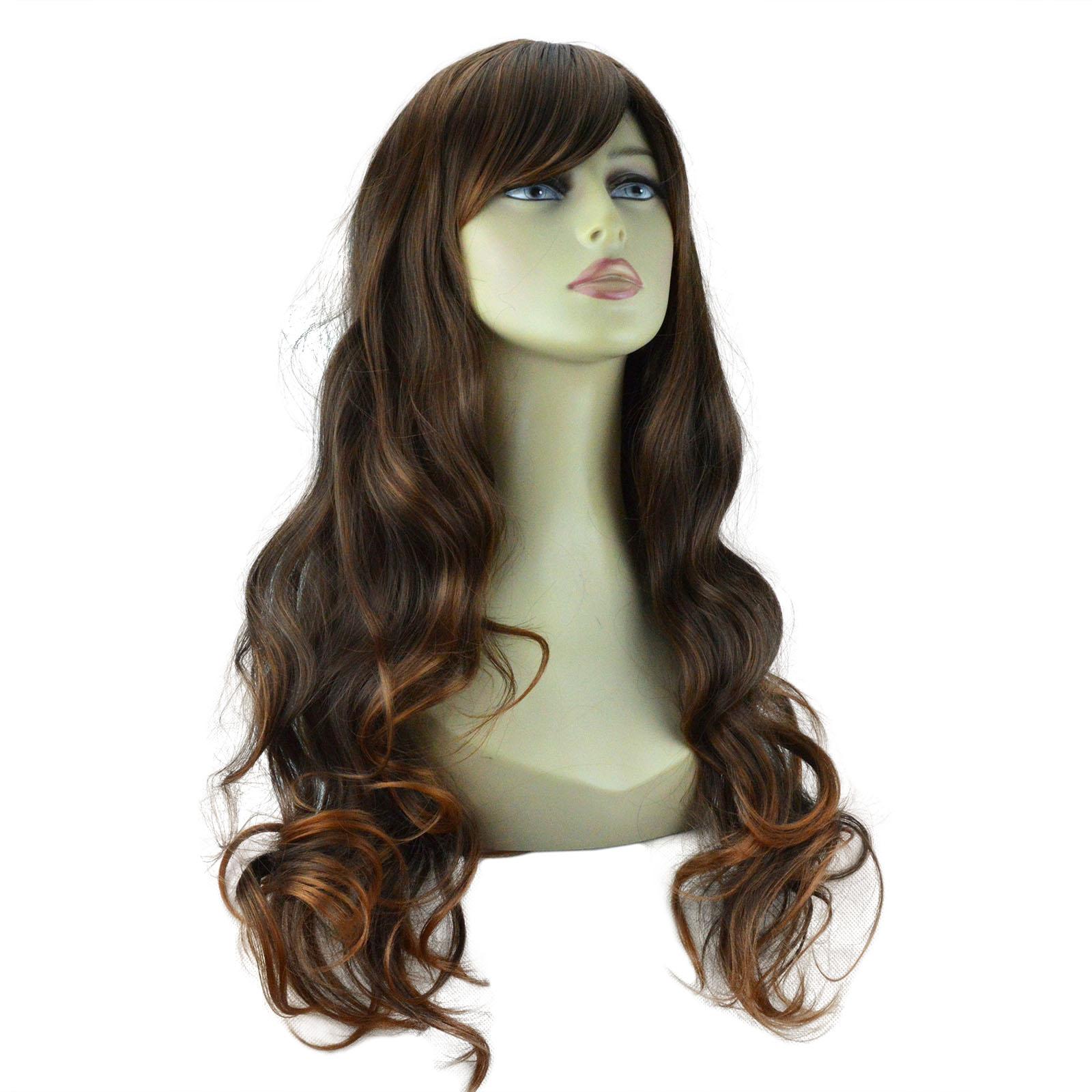 "22"" Ladies Beautiful Full WIG Long Hair Piece WAVY Brown ..."