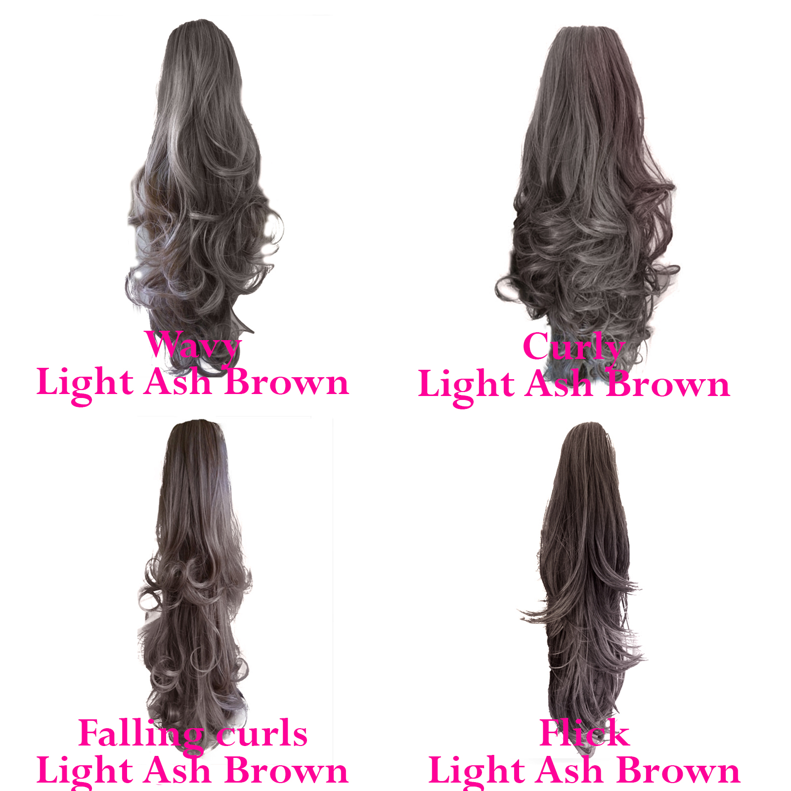 Ponytail Clip In Hair Extensions Light Ash Brown 10