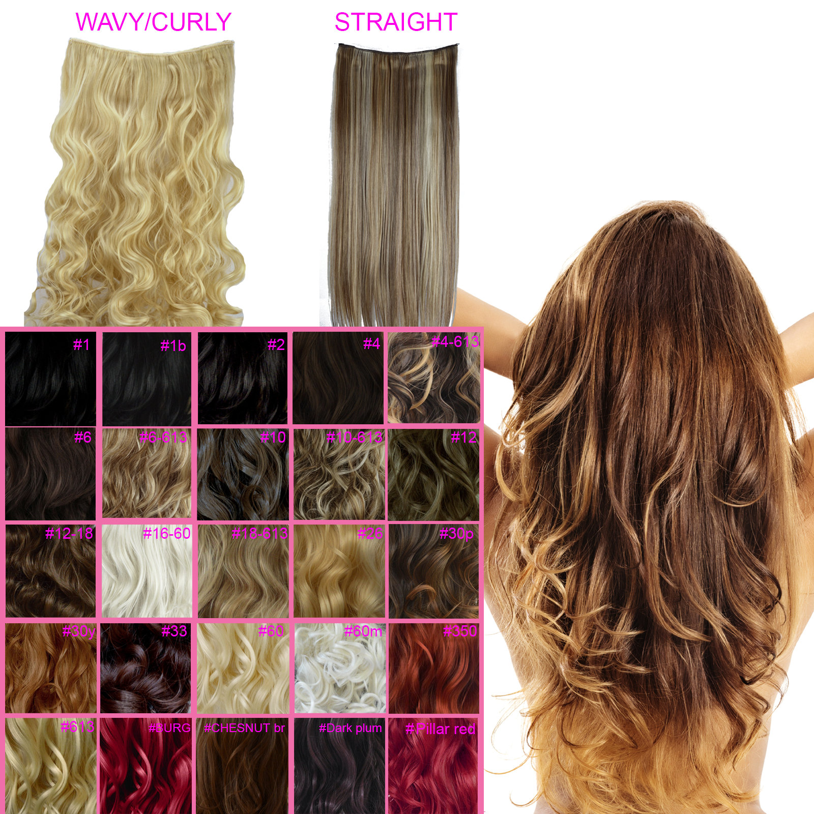 One piece clip in hair extensions curly wavy straight all colours one piece clip in hair extensions curly wavy pmusecretfo Images