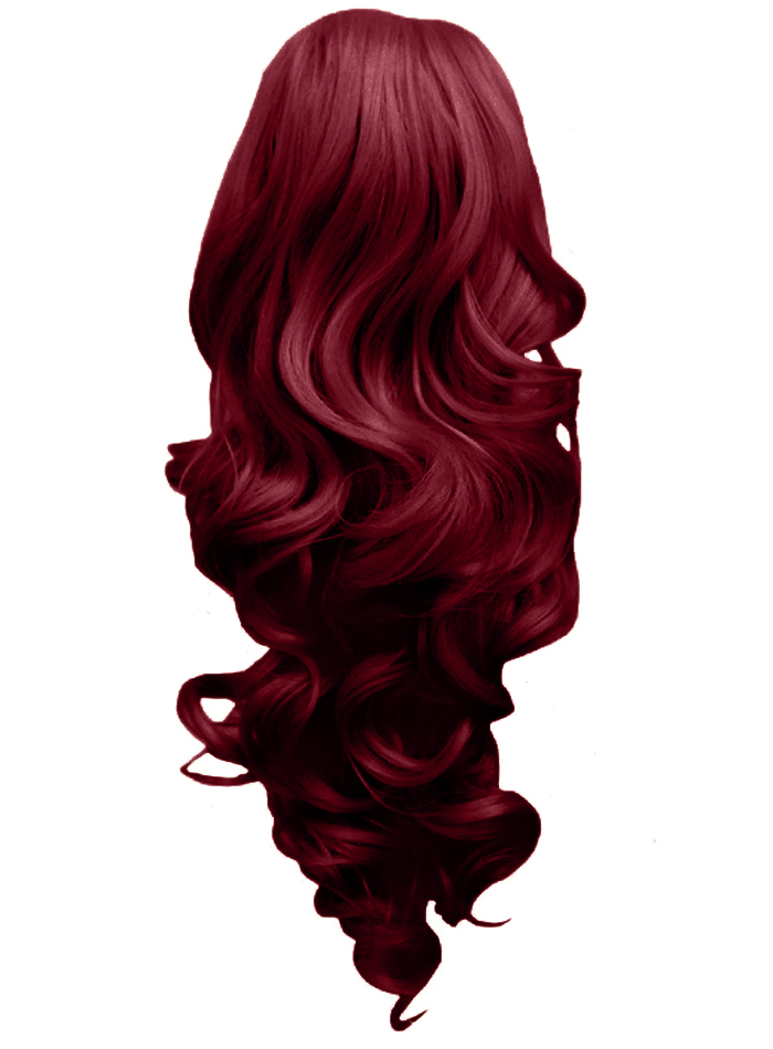Ponytail Clip In Hair Extensions Burgundy Reversible 4