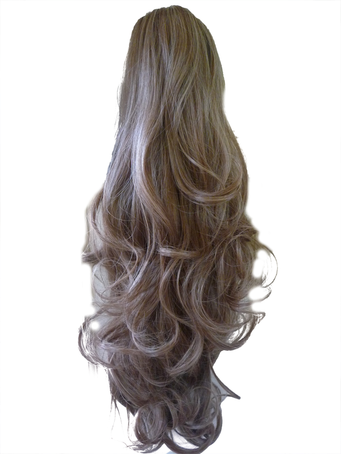 Ponytail Clip In Hair Extensions Light Ash Brown 10 Reversible Claw