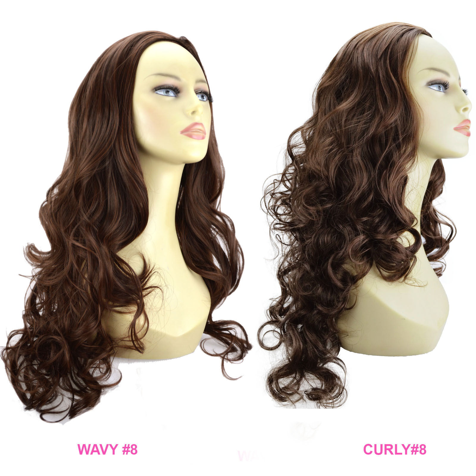 Ladies 3 4 Wig Half Fall Clip In Hair Piece Chocolate