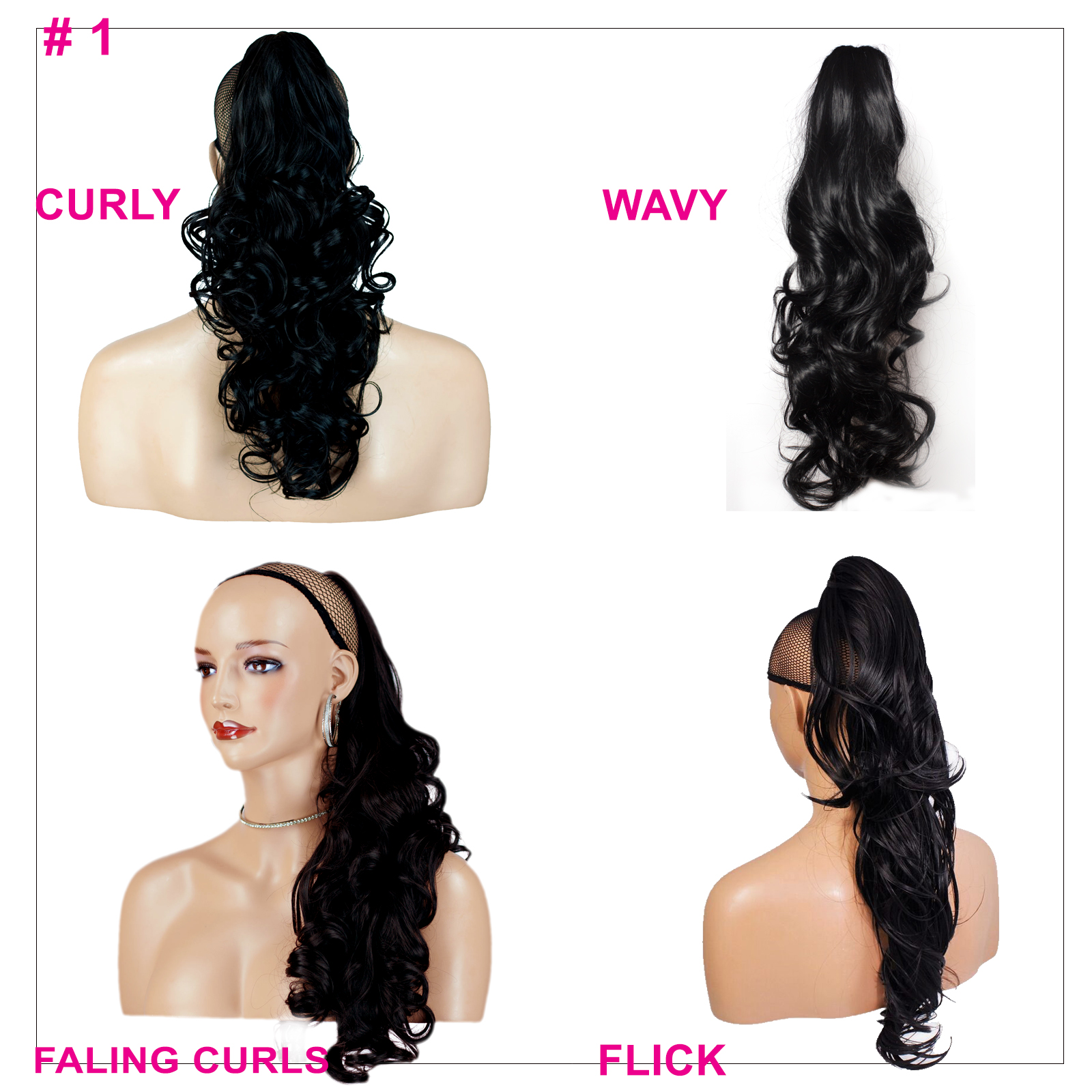 Details About Ponytail Clip In On Hair Extensions Jet Black 1 Reversible 4 Styles Claw Clip