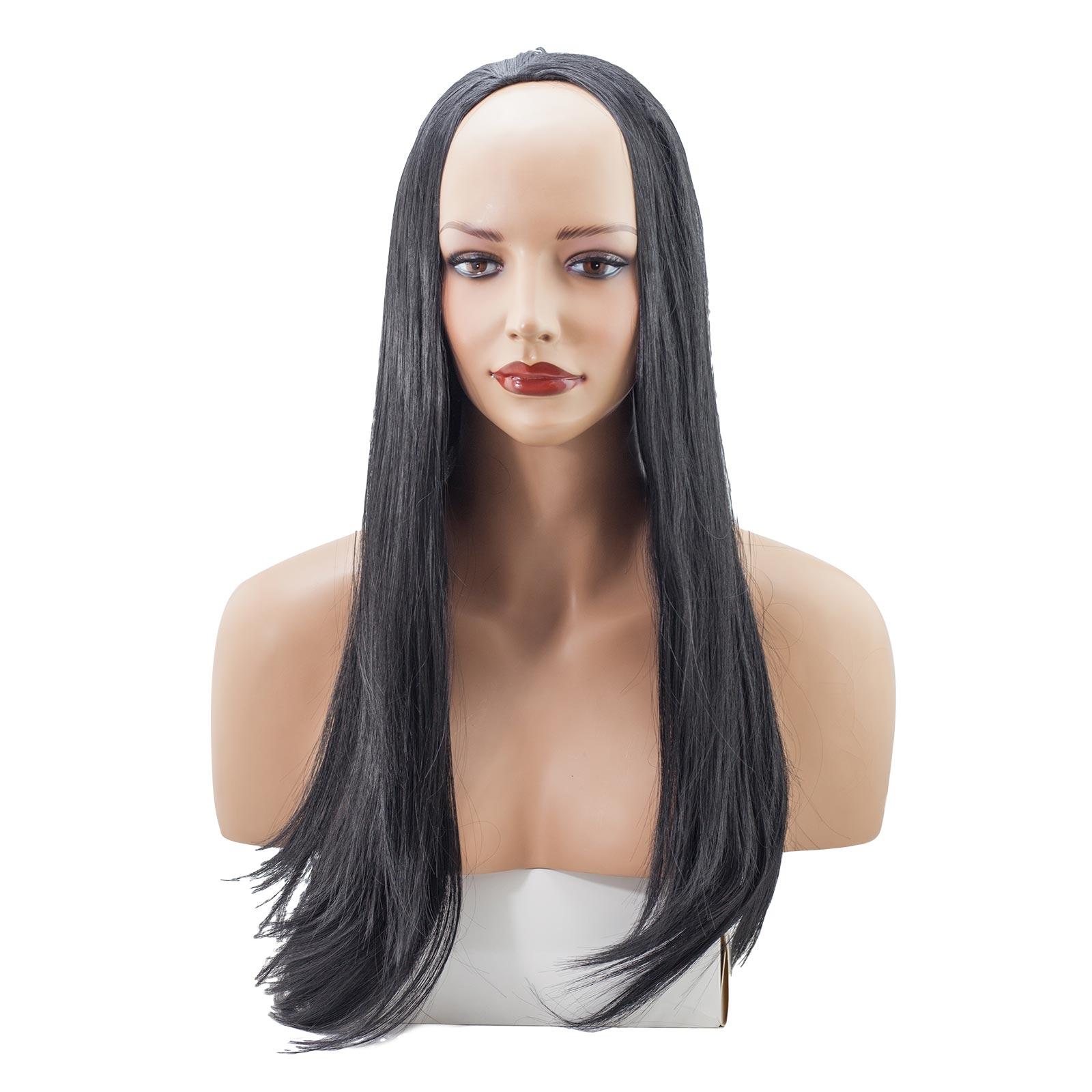 Ladies 3 4 Half Wig Jet Black 1 Straight 22 Heat Resistant Synthetic Hair Ebay