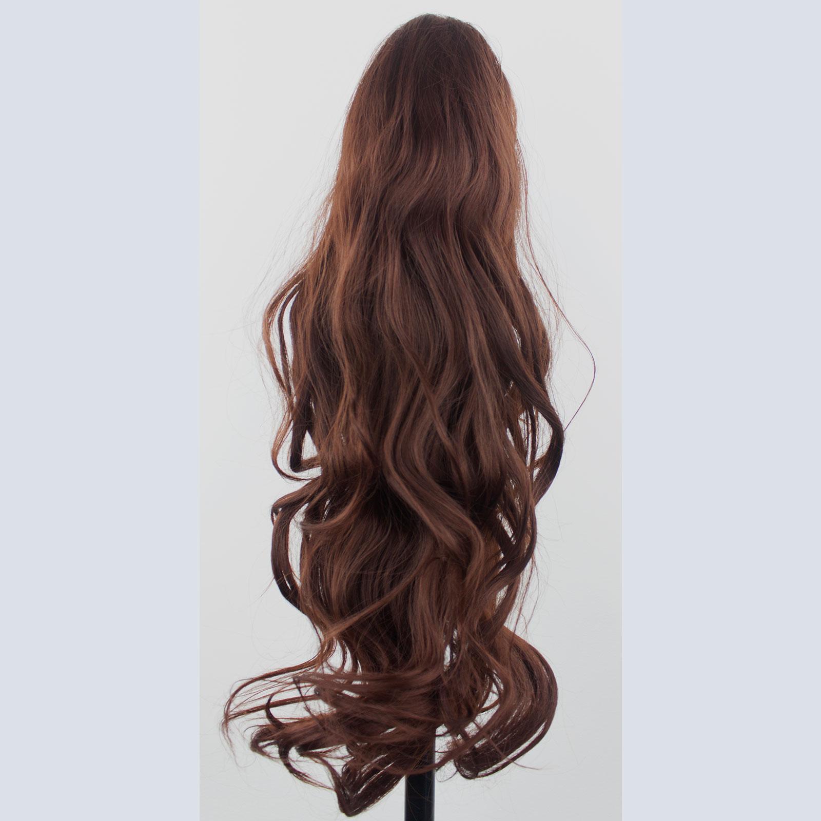 Ponytail Clip In Hair Extensions Dark Auburn 33 Reversible 4 Styles
