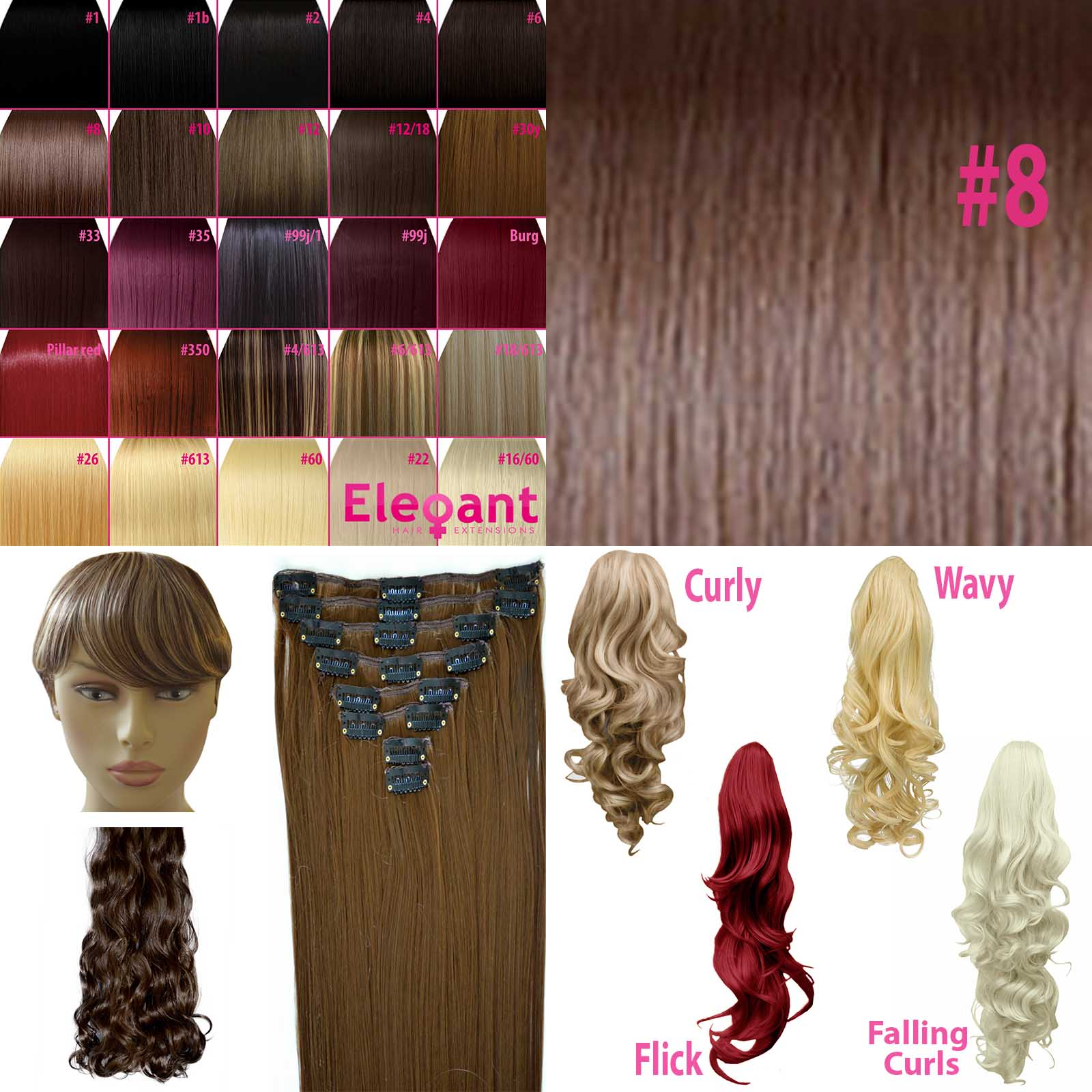 Fringe Bang Clip In Hair Extensions Straight Chocolate Brown 8