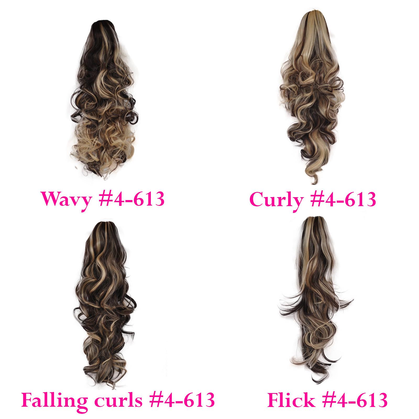 Ponytail Clip In Hair Extensions Dark Brownblonde 4613 Reversible