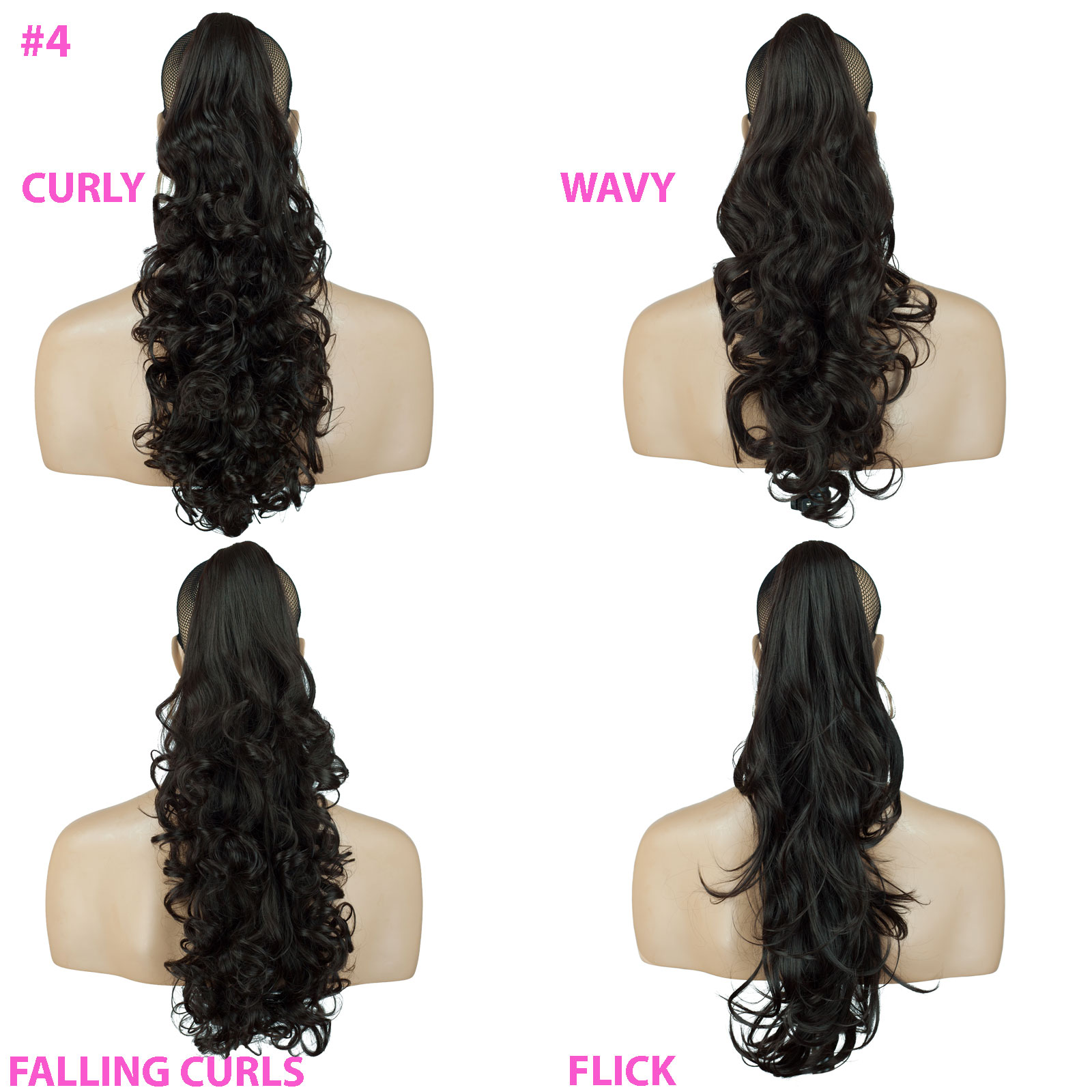 PONYTAIL-Clip-In-On-Hair-Extensions-Dark-Brown-4-REVERSIBLE-4-Styles-Claw-Clip miniature 8