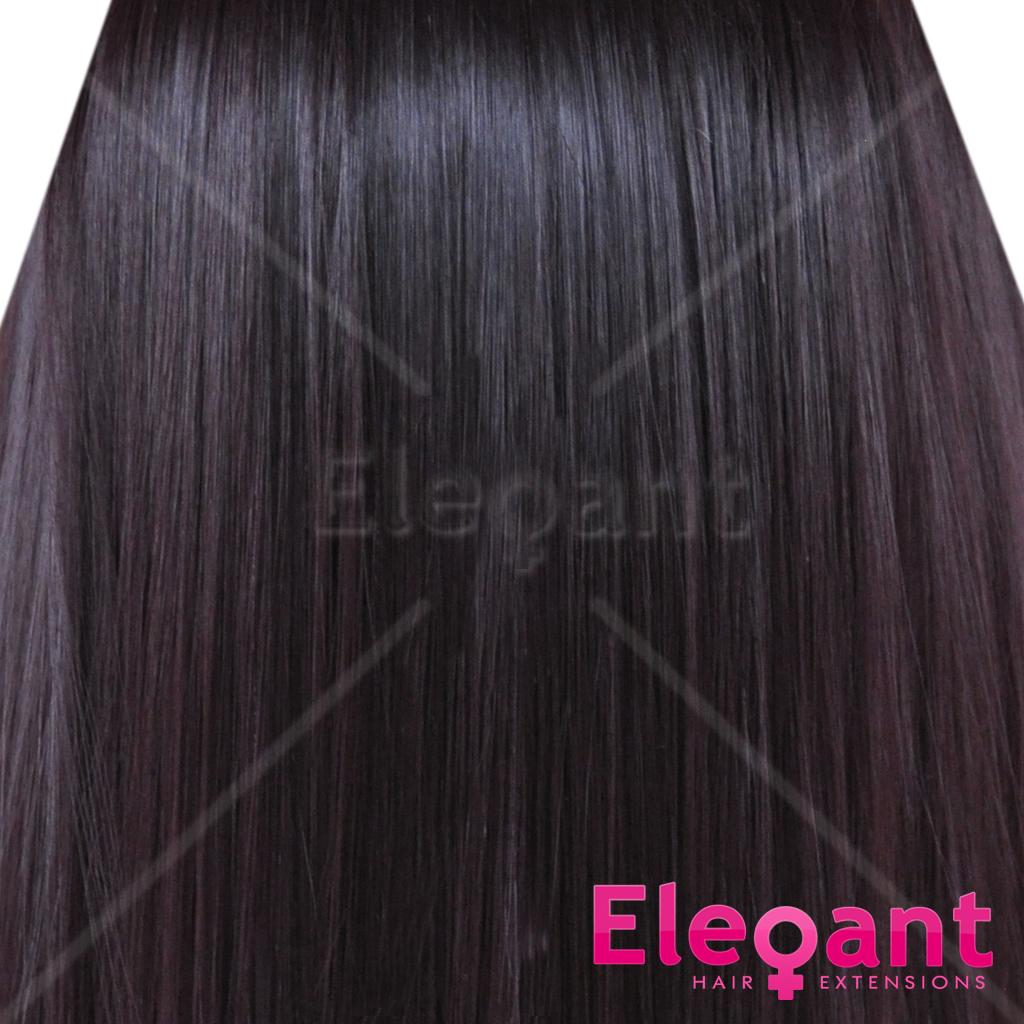 18 Clip In Hair Extensions Straight Dark Plum 99j1 Full Head 8pcs