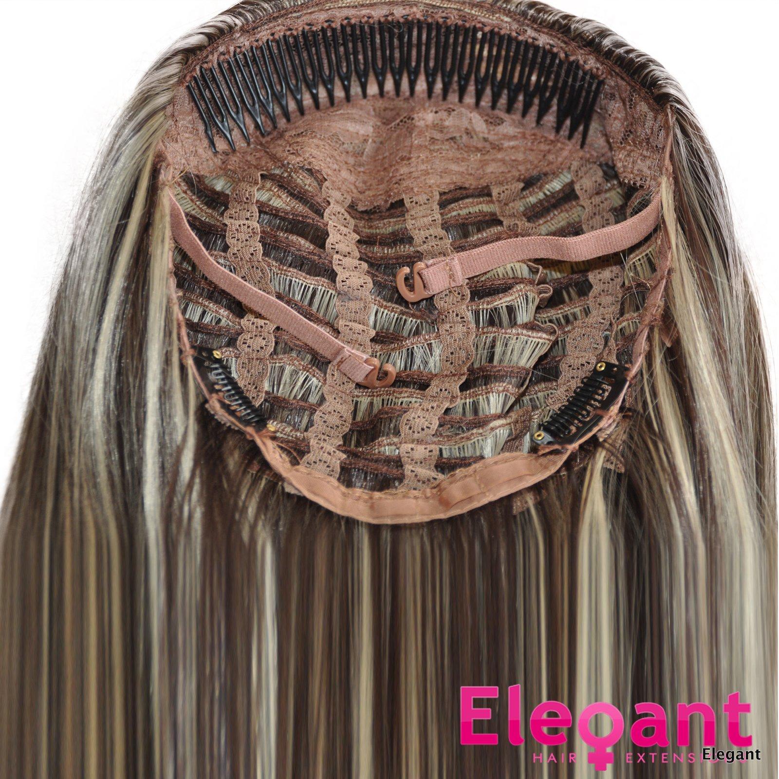 22 Ladies 34 Wig Half Fall Clip In Hair Wavy Ash Brownblonde Mix