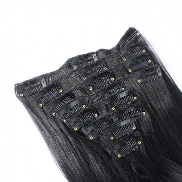 "18"" Clip in Hair Extensions STRAIGHT Black #1b FULL HEAD 8pcs"