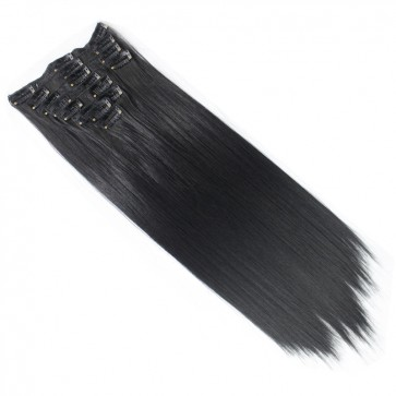 15 Inch Clip in Hair Extensions Straight 8pcs - Natural Black #1b