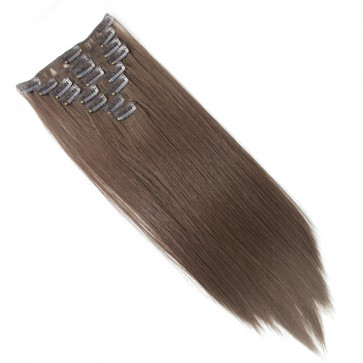 18 Inch Clip in Hair Extensions Straight 8pcs - Chocolate Brown