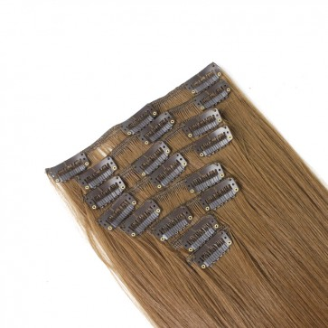 18 Inch Clip in Hair Extensions Straight 8pcs - Light Brown