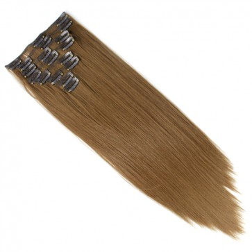 "22"" Clip in Hair Extensions STRAIGHT Light Brown #12 FULL HEAD 8pcs"