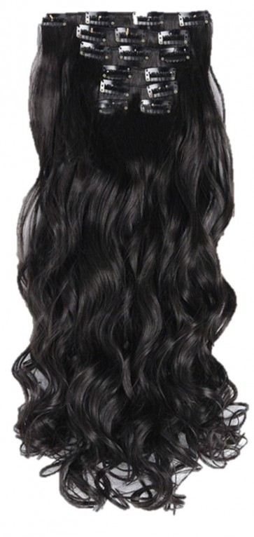 22 Inch Clip in Hair Extensions Curly 8pcs - Natural Black