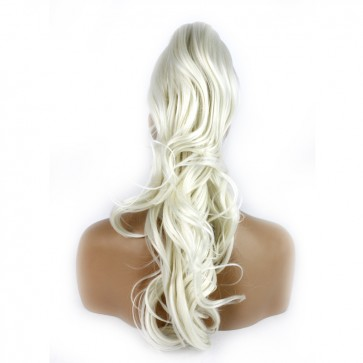 22 Inch Ponytail Flick Claw Clip - White Blonde