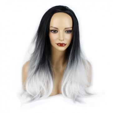 22 Inch Ladies 3/4 Wig Straight - Black / Silver Grey Ombre