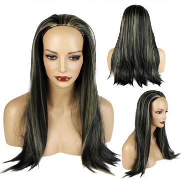 22 Inch Ladies 3/4 Wig Straight - Black / Blonde Highlights #1BH27