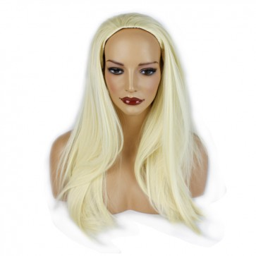 22 Inch Ladies 3/4 Wig Straight - Bleach Blonde