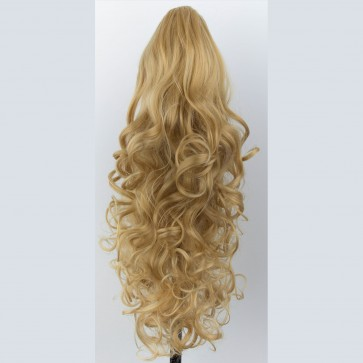 "22"" PONYTAIL FALLING CURLS Golden Blonde #26 REVERSIBLE Claw Clip"