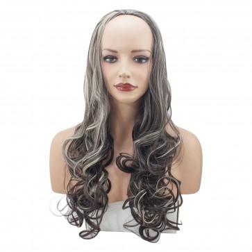 22 Inch Ladies 3/4 Wig Curly - Dark Brown/Blonde Mix #4/613