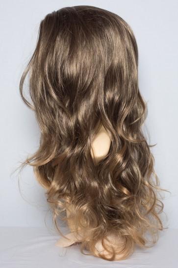 """22"""" Ladies 3/4 Wavy Wig MediumBrown/Blonde Tips #4H/T27F"""