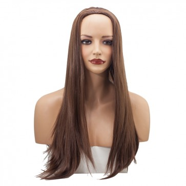 22 Inch Ladies 3/4 Wig Straight - Chocolate Brown #8