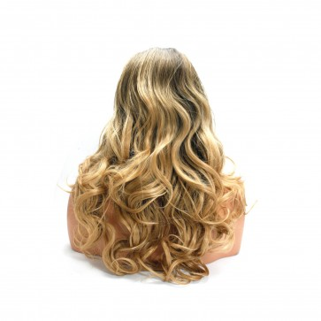 22 Inch Ladies 3/4 Wig Wavy - Chocolate Brown / Blonde Ombre
