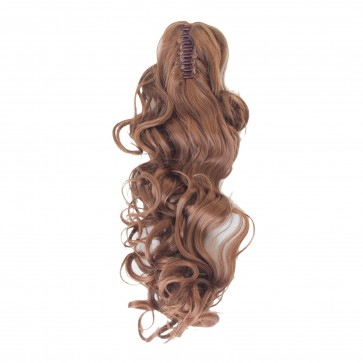 22 Inch Ponytail Curly Claw Clip - Light Auburn /1