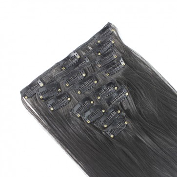22 Inch Clip in Hair Extensions Straight 8pcs - Darkest Brown #2