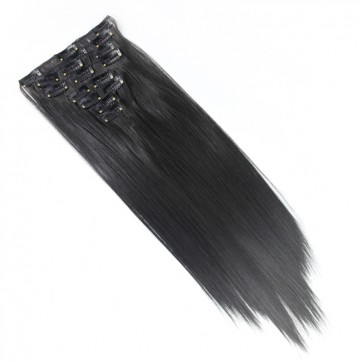 18 Inch Clip in Hair Extensions Straight 8pcs - Darkest Brown #2