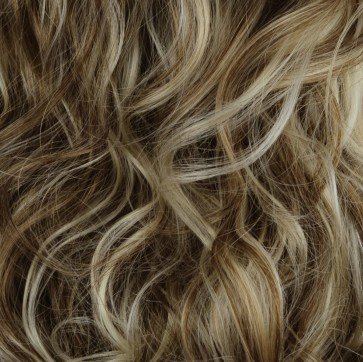 """23"""" Clip In ONE PIECE WAVY CURLY Ash Brown/Blonde Mix #10/613 1pc 5 Clips"""