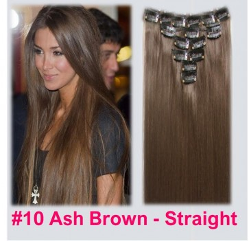 Clip in Hair Extensions - Ash Brown Straight - 22 Inch / 56 cm - Full Head - 7 Pcs 150g - Heat Resistant Synthetic Fibre - Looks and Feels like Real Hair