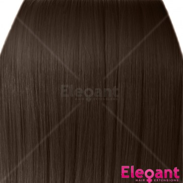 "20"" Clip in Hair Extensions STRAIGHT Light Chocolate Brown #12/18 FULL HEAD 8pcs"